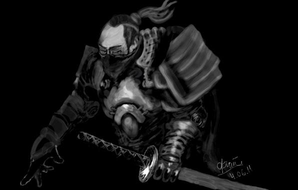 Picture katana, Samurai, black background, dark