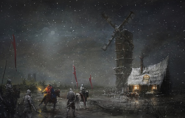 Picture snow, night, art, mill, torch, hut, hike, knights, banner
