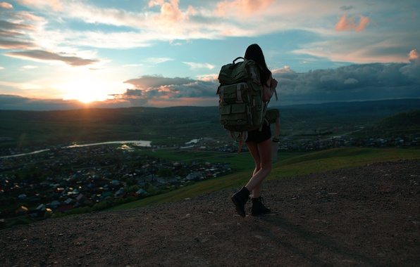 Picture girl, view, space, backpack, Roman Filippov