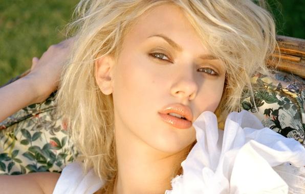 Picture look, model, actress, Scarlett Johansson, blonde