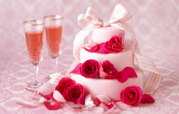 Picture flowers, holiday, wine, roses, glasses, tape, cake, champagne, cake