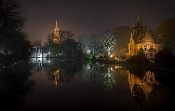 Picture night, lights, reflection, Belgium, Bruges, West-Flanders