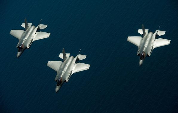 "Picture sea, fighters, three, flight, Lightning II, F-35, ""Lightning"" II"