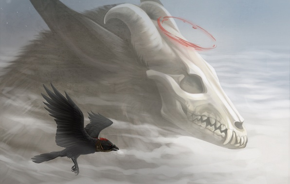 Picture the sky, flight, fiction, bird, skull, art, horns, Raven