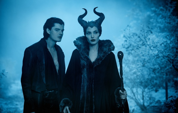 Picture forest, night, the film, horns, staff, guy, witch, Maleficent