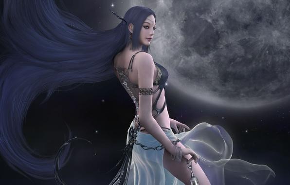 Picture decoration, night, magic, the moon, beauty, stars, flight, beauty, goddess, game wallpapers, Hyung Jun Kim, …