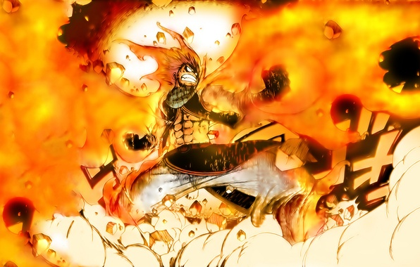 Picture fire, anime, art, guy, Fairy Tail, Tale of fairy tail, Natsu Dragneel, Natsu