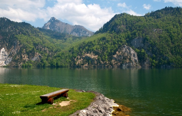 Picture forest, clouds, trees, mountains, lake, shore, Austria, shop, Traunsee