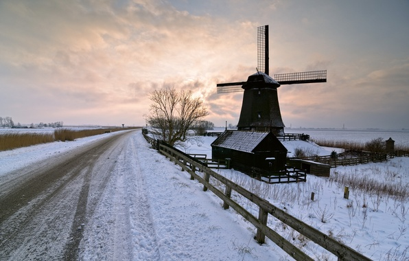 Picture winter, road, landscape, sunset, mill