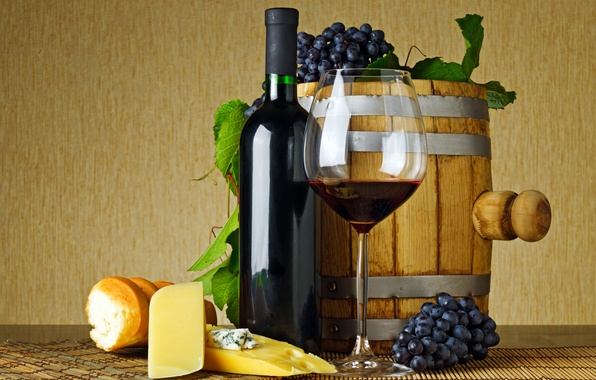 Picture leaves, table, wine, red, glass, bottle, cheese, bread, grapes, baguette, Mat, barrel