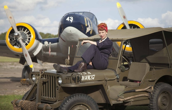 """Picture girl, fighter, sitting, jumpsuit, Jeep, """"Willis-MV"""", Willys MB"""