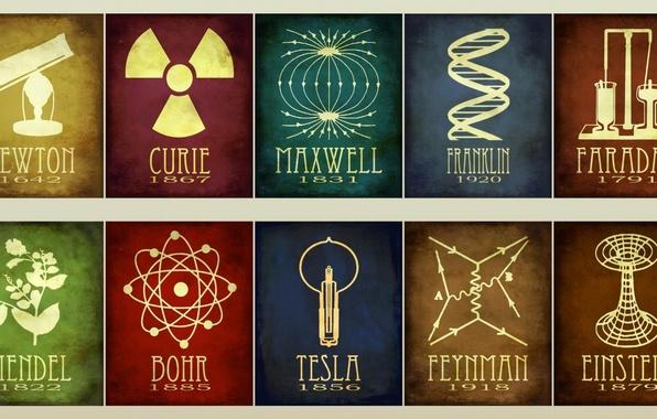 Picture Tesla, Einstein, Franklin, Mendel, Faraday, Feynman, Maxwell, Curie, Newton, Bohr
