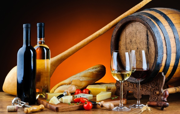 Picture wine, red, white, cheese, glasses, bread, bottle, tomatoes, baguette, barrel, baton