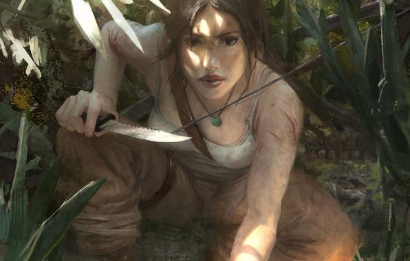 Picture look, face, weapons, hair, Mike, art, knife, hunter, lara croft, tomb raider, Lara Croft