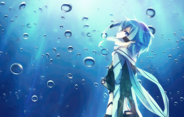 Picture Anime, Sword Art Online, SAO, shino wand, Sinon, water.