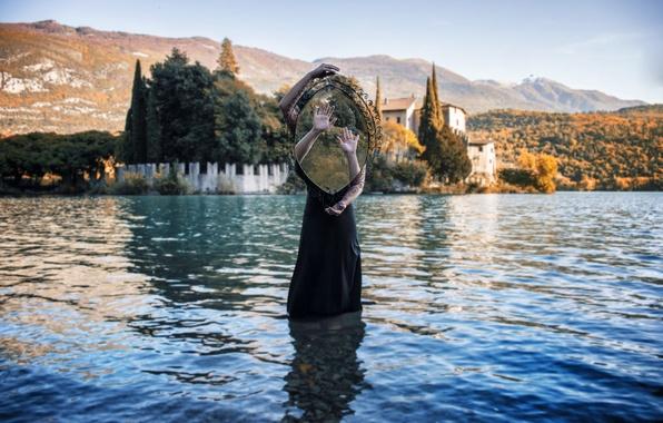 Picture girl, landscape, lake, reflection, weapons, castle, hills, dress, mirror, prison, solar