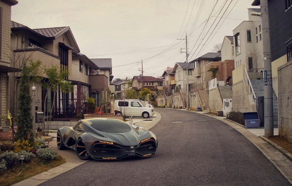 Picture Concept, Home, Street, The concept, Car, Car, Lada, Supercar, Street, Lada, Supercar, 2014, Raven, Equal, …