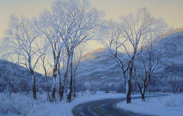 Picture winter, road, car, machine, snow, landscape, mountains, the evening, painting, road, trees, art, winter, snow, …