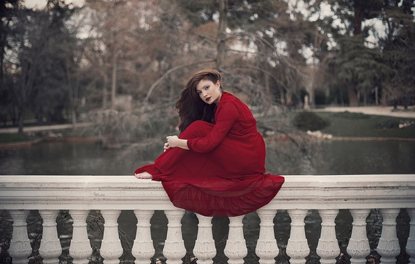Picture girl, face, red, hair, dress, sitting, estate, railings