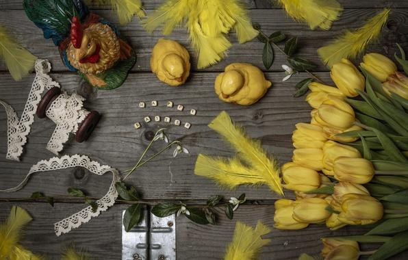 Picture flowers, style, Easter, tulips, still life, lace, braid, feathers