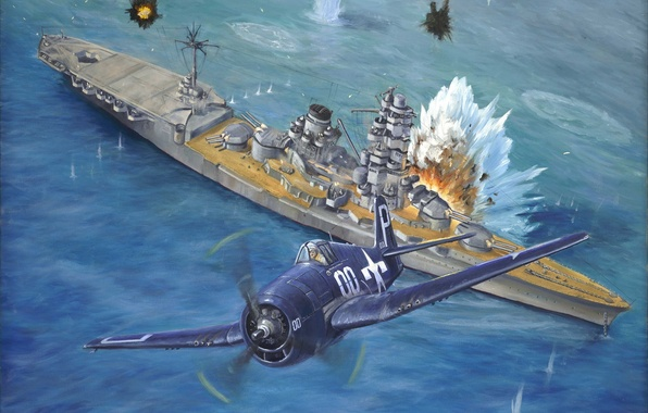 Picture sea, the sky, water, attack, figure, explosions, fighter, art, American, ship of the line, WW2, …