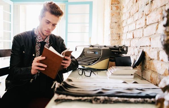 Picture eyes, man, window, glasses, sunlight, clock, books, beard, typewriter, daily planner, personal organizer