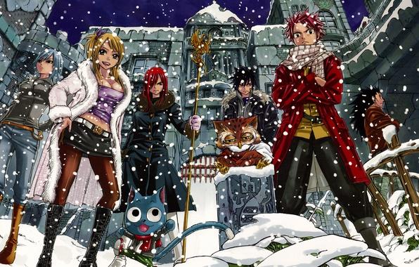 Picture snow, girls, anime, art, guys, Fairy Tail, Tale of fairy tail, Ezra Scarlet, Juvia Loxar, …