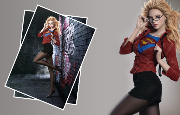 Picture sexy, legs, blonde, shoes, clothing, pantyhose, heels, shirts, red blouse, super girl