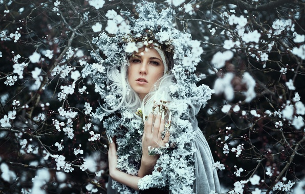 Picture girl, flowers, branches, mood, spring, flowering, wreath, Bella Kotak, Kerry-Ann
