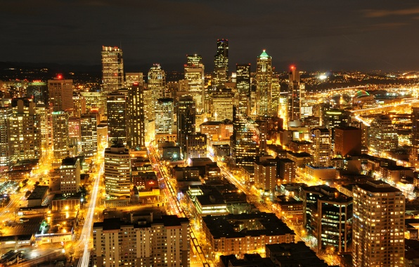 Picture lights, building, skyscrapers, backlight, Seattle, USA, USA, night city, Washington, Seattle, Washington