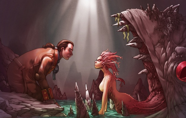 Picture language, girl, monster, mouth, cave, trap, guy, bait, monster