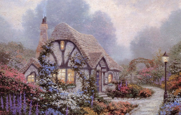 Picture the sky, clouds, flowers, house, garden, lantern, painting, cottage, blue, Thomas Kinkade, cornflower blue color, …