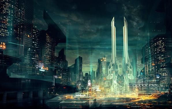 Picture the city, lights, fiction, skyscraper, megopolis