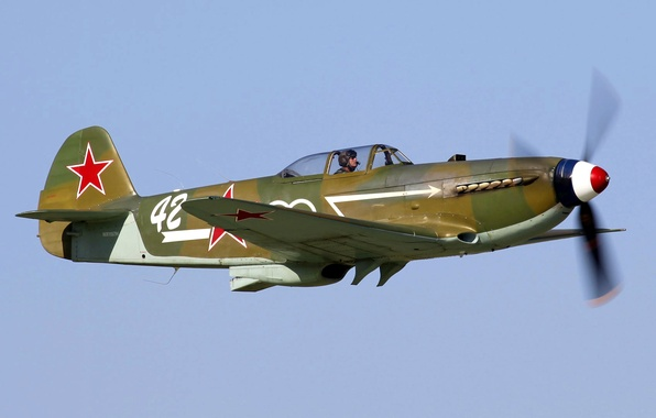 Picture flight, retro, the plane, fighter, pilot, As-3A