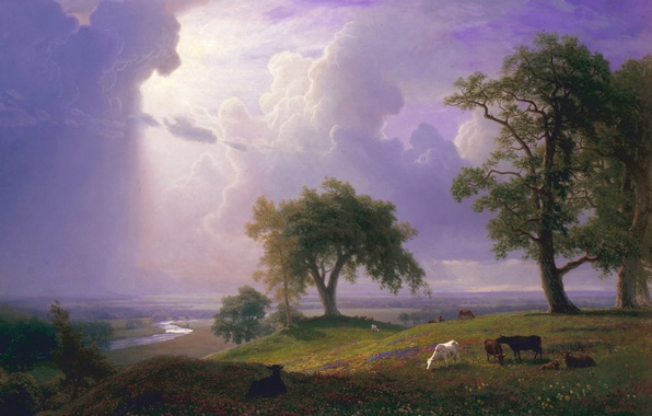 Photo wallpaper Spring in California, clouds, picture, Albert Bierstadt, trees, river, landscape