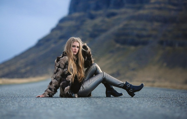 Picture road, girl, legs, David Olkarny, Somewhere on the road