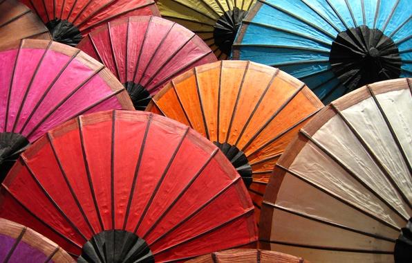 Picture color, paint, rainbow, umbrellas, palette