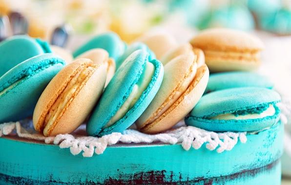 Picture cookies, cream, dessert, cakes, almonds, sweet, macaron, macaroon
