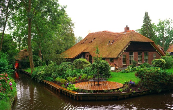 Picture trees, flowers, design, house, lawn, garden, channel, Netherlands, the bushes, water, Giethoorn