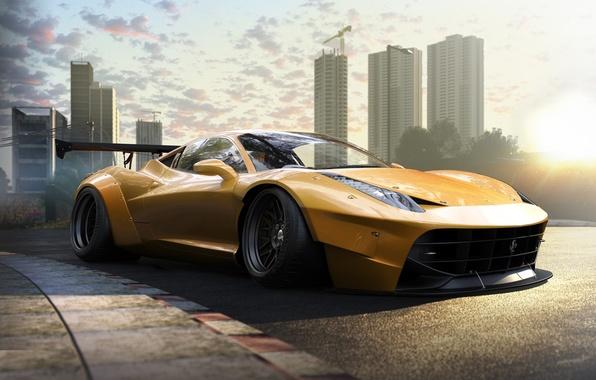 Picture Ferrari, 458, Front, Yellow, Tuning, Italia, Supercar, Wheels, Track, Spoiler, DRAG