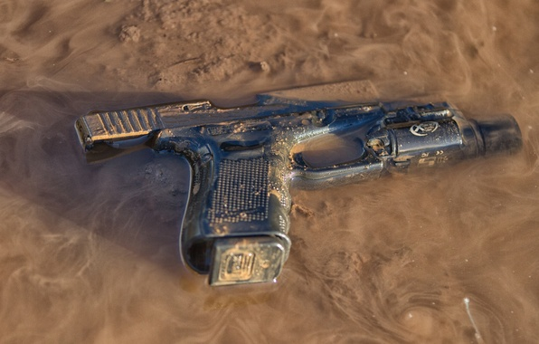 Picture gun, weapons, dirt, Glock, self-loading