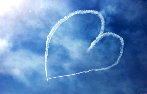 Picture the sky, heart, figure, aircraft