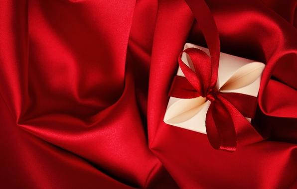 Picture love, gift, red, love, heart, romantic, silk, Valentine's Day