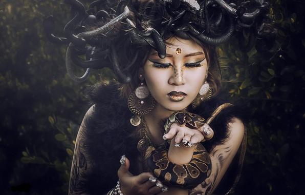 Picture snakes, girl, style, model, makeup, Asian, Medusa