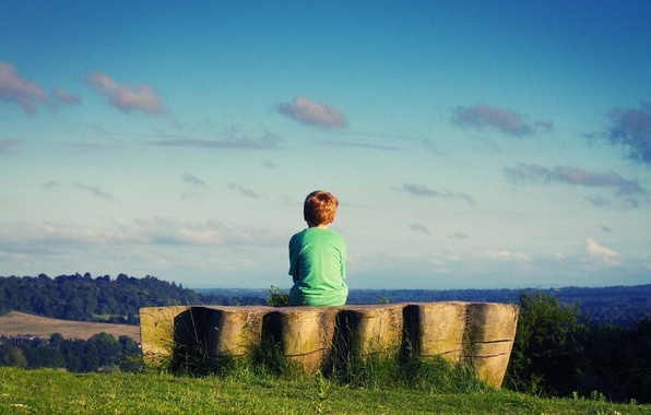 Picture greens, grass, nature, children, green, Wallpaper, mood, boy, meadow, the sky. cloud. background