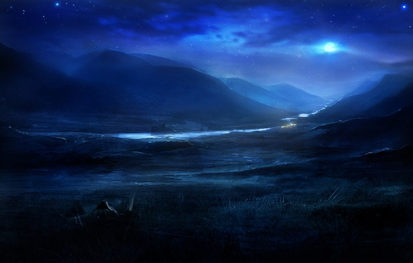 Picture stars, night, nature, river, hills, the moon, art