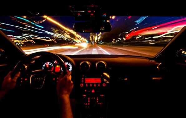 Picture night, movement, Audi, excerpt, light, salon, night