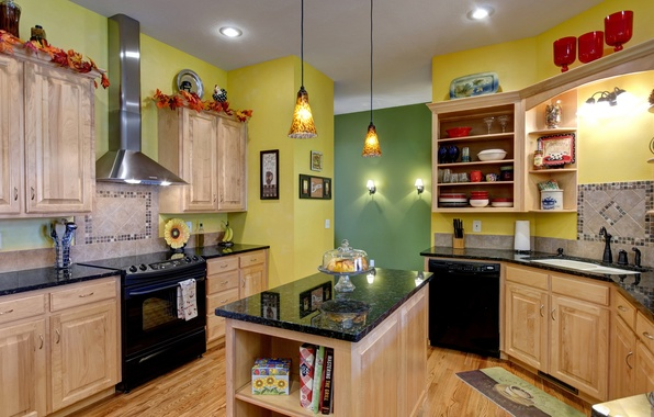 Picture design, table, room, interior, the ceiling, kitchen, pictures, dishes, lamps