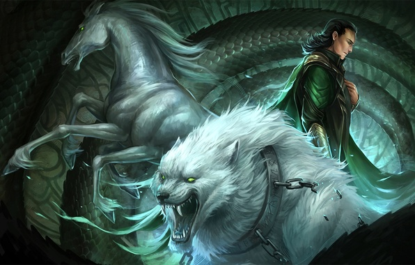 Picture horse, wolf, scales, art, chain, snakes, collar, guy, Loki, Sandara