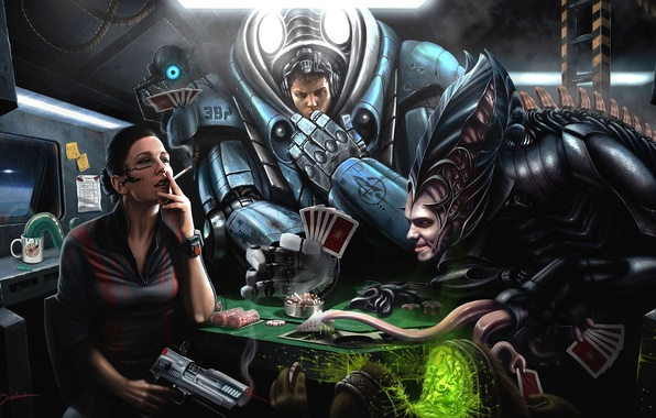 Picture card, weapons, the game, ship, robot, the suit, art, chips, monsters, cigarette, cheating
